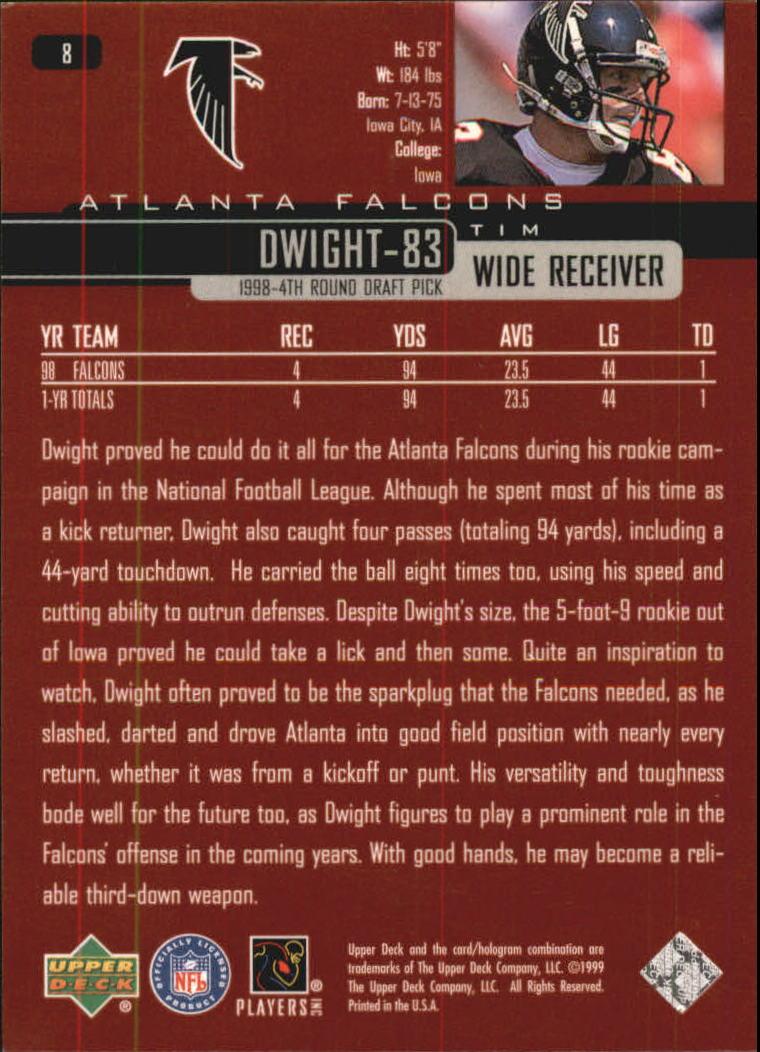 1999 Upper Deck Exclusives 100 #8 Tim Dwight back image