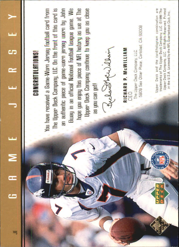 1999 Upper Deck Game Jersey #JE John Elway H back image