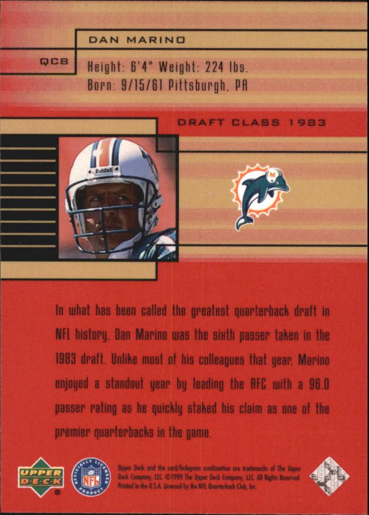 1999 Upper Deck Quarterback Class #QC8 Dan Marino back image