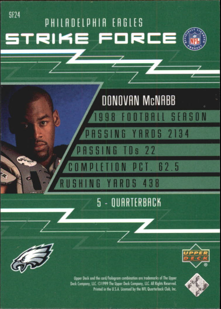 1999 Upper Deck Strike Force #SF24 Donovan McNabb back image