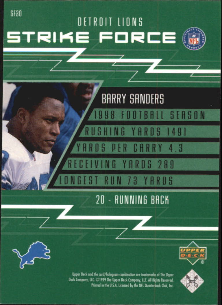 1999 Upper Deck Strike Force #SF30 Barry Sanders back image