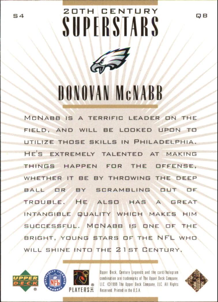 1999 Upper Deck Century Legends 20th Century Superstars #S4 Donovan McNabb back image
