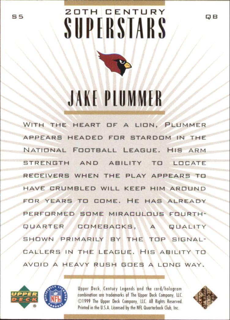 1999 Upper Deck Century Legends 20th Century Superstars #S5 Jake Plummer back image