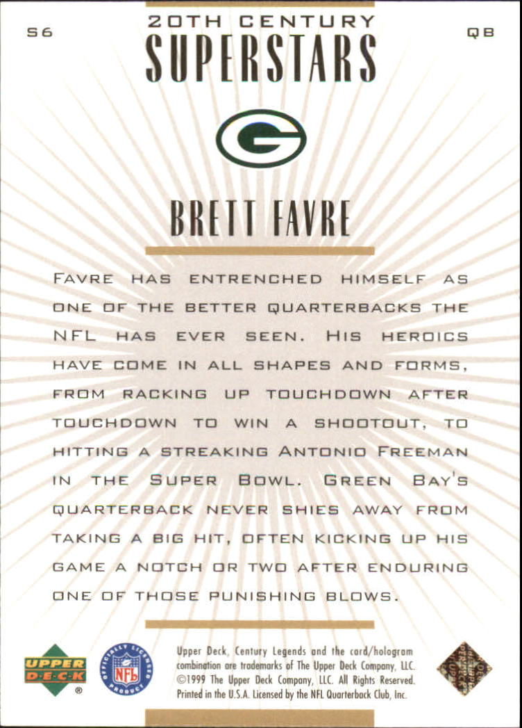 1999 Upper Deck Century Legends 20th Century Superstars #S6 Brett Favre back image