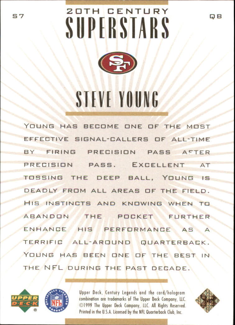 1999 Upper Deck Century Legends 20th Century Superstars #S7 Steve Young back image