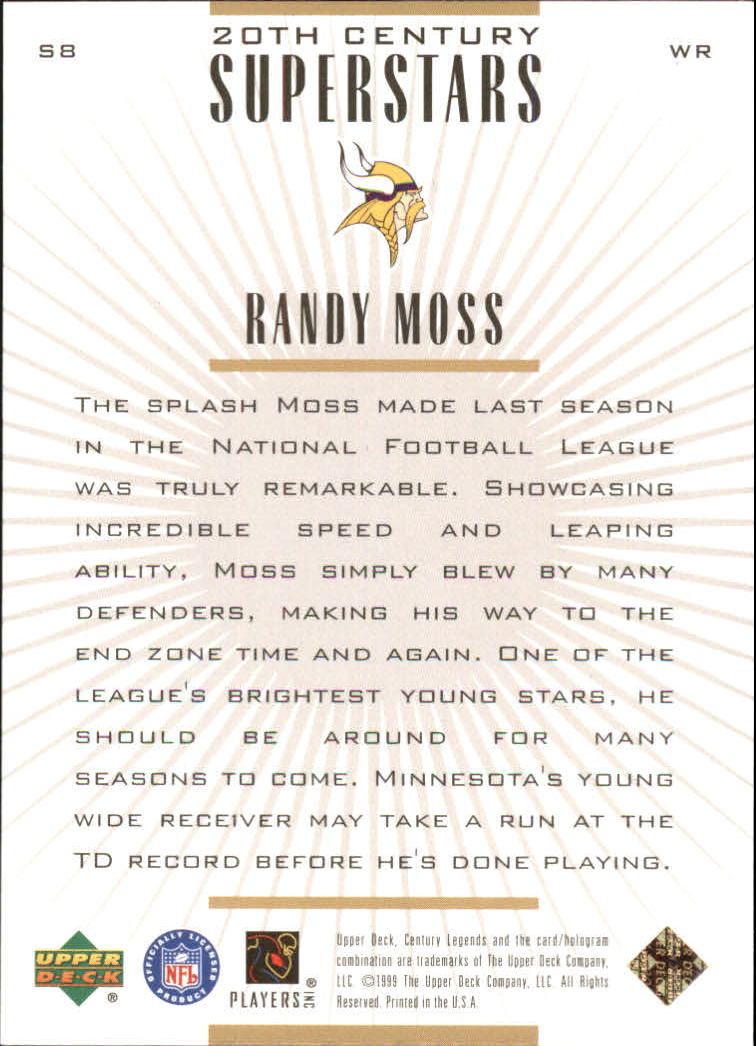 1999 Upper Deck Century Legends 20th Century Superstars #S8 Randy Moss back image