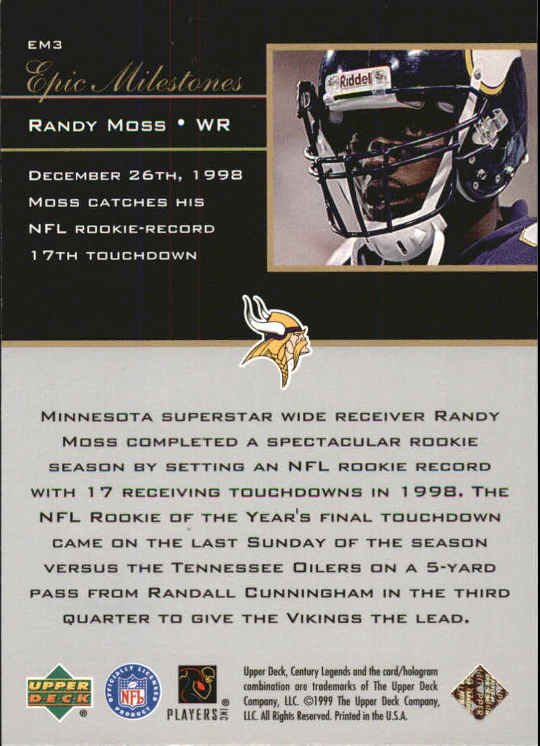 1999 Upper Deck Century Legends Epic Milestones #EM3 Randy Moss back image