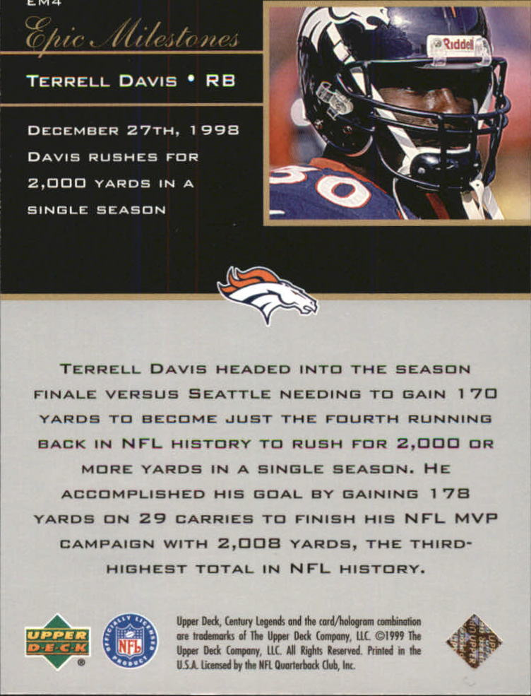 1999 Upper Deck Century Legends Epic Milestones #EM4 Terrell Davis back image