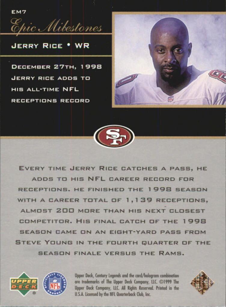 1999 Upper Deck Century Legends Epic Milestones #EM7 Jerry Rice back image