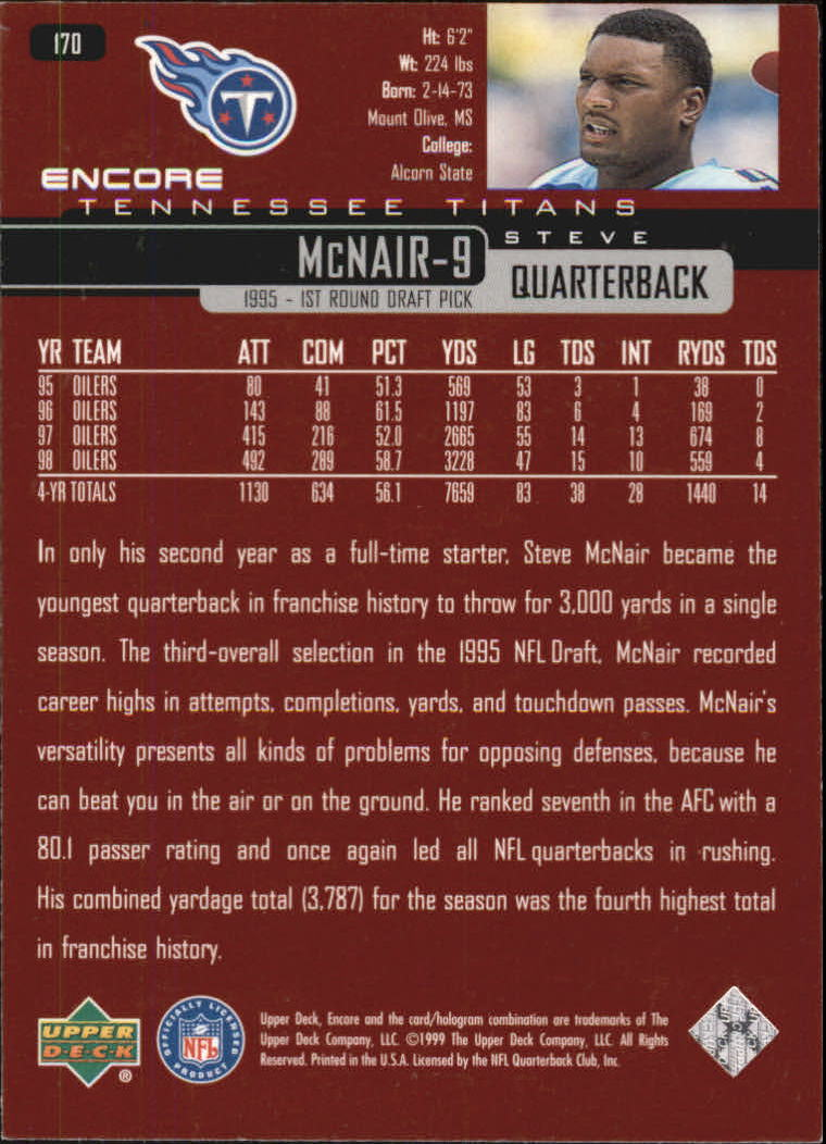 1999 Upper Deck Encore #170 Steve McNair back image