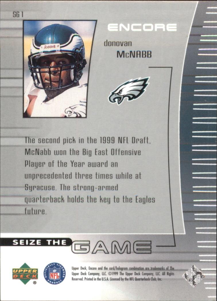 1999 Upper Deck Encore Seize the Game #SG1 Donovan McNabb back image