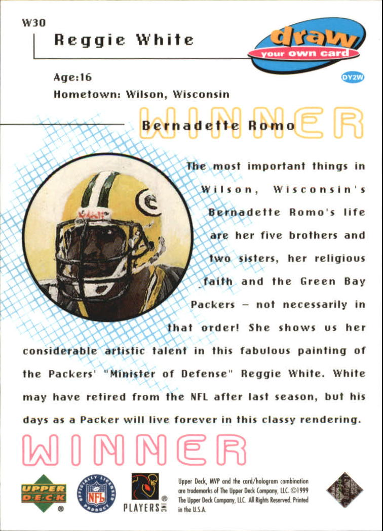 1999 Upper Deck MVP Draw Your Own Card #W30 Reggie White back image