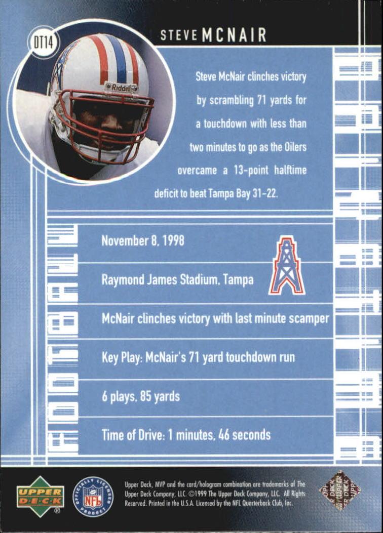 1999 Upper Deck MVP Drive Time #DT14 Steve McNair back image