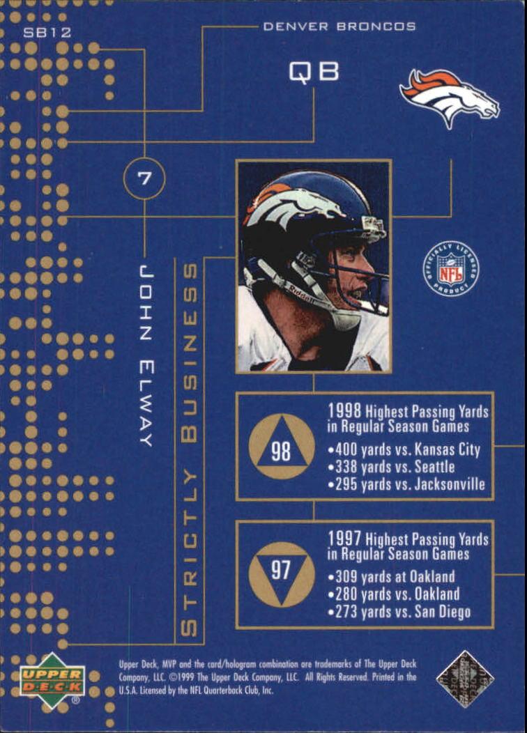 1999 Upper Deck MVP Strictly Business #SB12 John Elway back image
