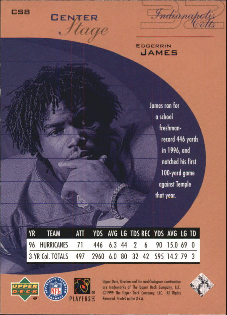 1999 Upper Deck Ovation Center Stage #CS8 Edgerrin James back image