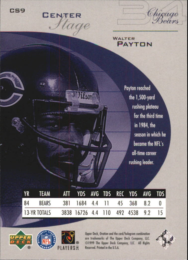 1999 Upper Deck Ovation Center Stage #CS9 Walter Payton back image