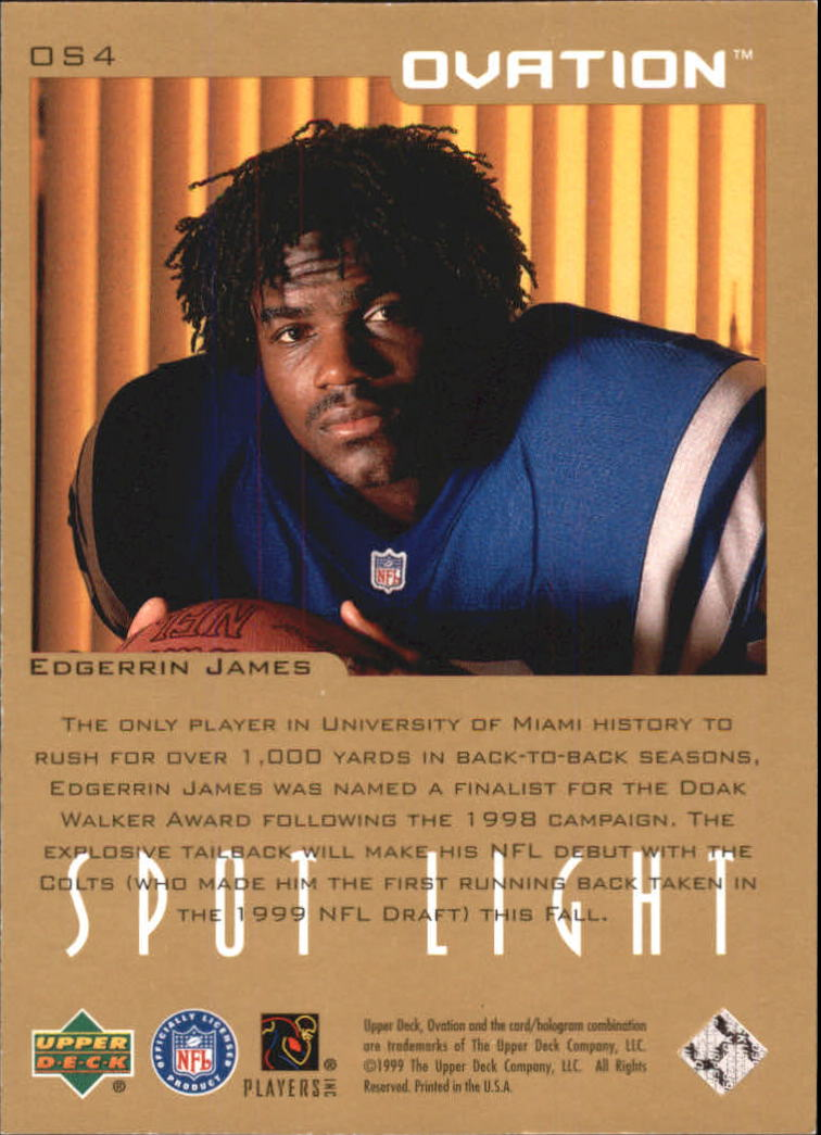 1999 Upper Deck Ovation Spotlight #OS4 Edgerrin James back image