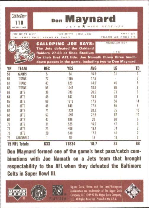 1999 Upper Deck Retro #110 Don Maynard back image