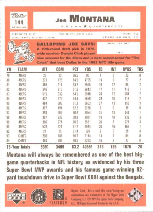 1999 Upper Deck Retro #144 Joe Montana back image