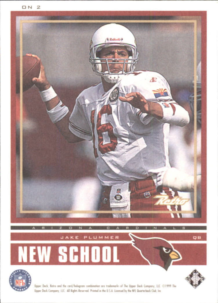 1999 Upper Deck Retro Old School/New School #ON2 Joe Montana/Jake Plummer back image
