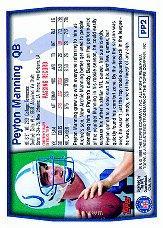 1999 Topps Promos #PP2 Peyton Manning back image