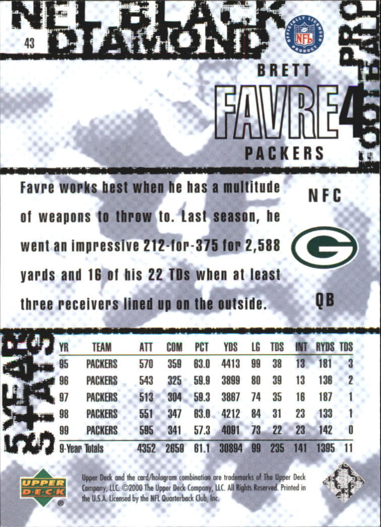 2000 Black Diamond #43 Brett Favre back image