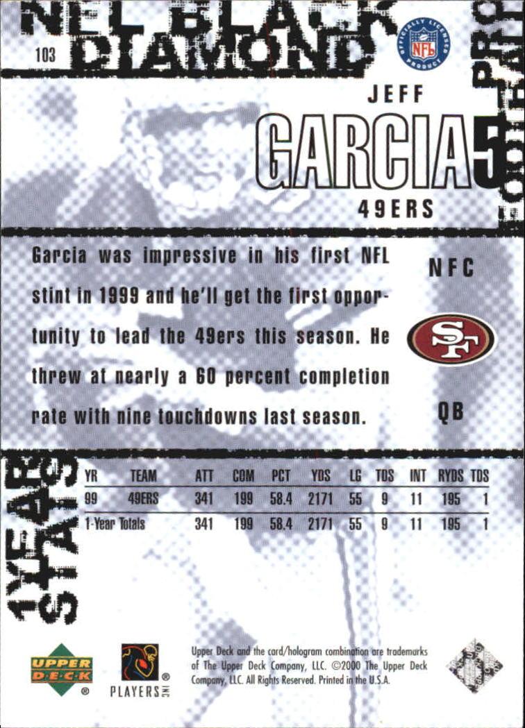 2000 Black Diamond #103 Jeff Garcia back image