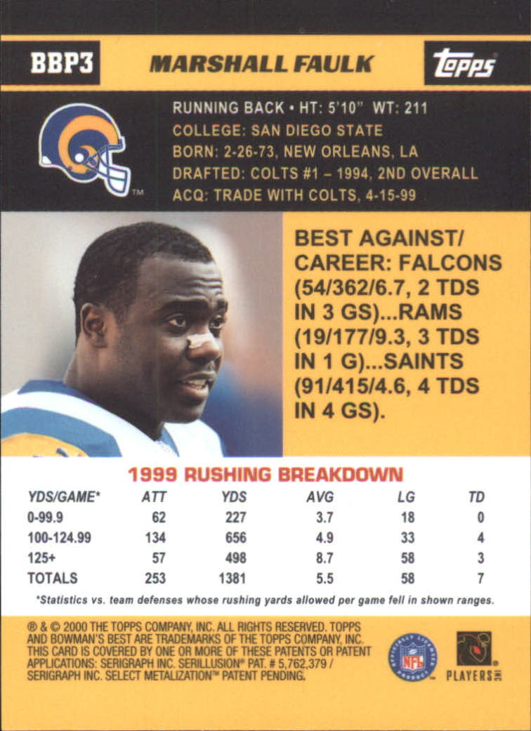 2000 Bowman Bowman's Best Previews #BBP3 Marshall Faulk back image