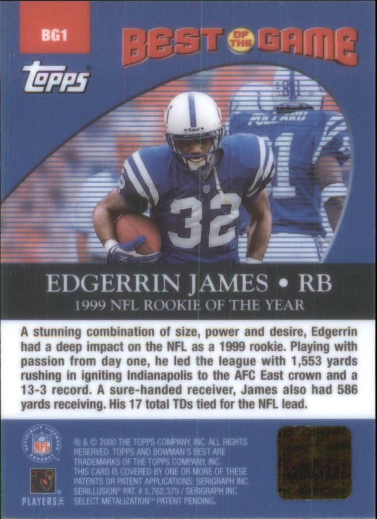 2000 Bowman's Best Best of the Game Autographs #BG1 Edgerrin James back image
