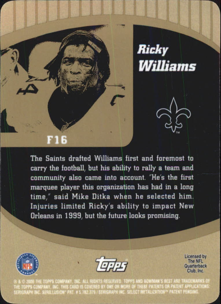 2000 Bowman's Best Franchise 2000 #F16 Ricky Williams back image