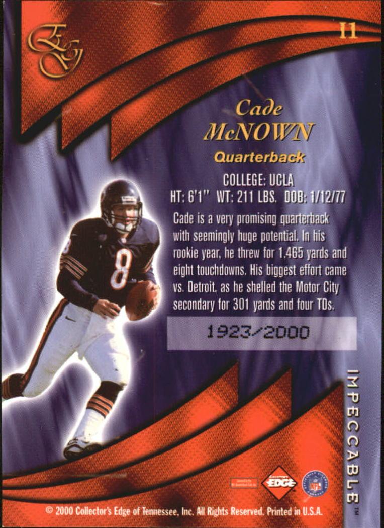 2000 Collector's Edge EG Impeccable #I1 Cade McNown back image