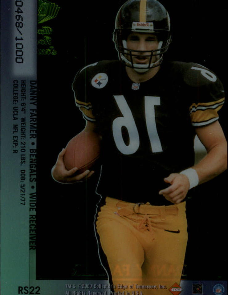 2000 Collector's Edge Masters Sentinel Rookies Gold #RS22 Danny Farmer back image