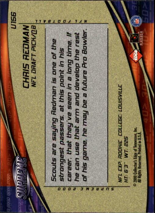 2000 Collector's Edge Supreme #156 Chris Redman RC back image