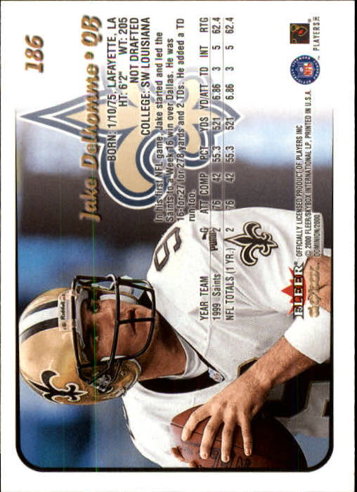 2000 SkyBox Dominion #186 Jake Delhomme RC back image