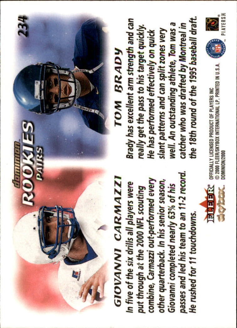 2000 SkyBox Dominion #234 Tom Brady RC/Giovanni Carmazzi RC back image