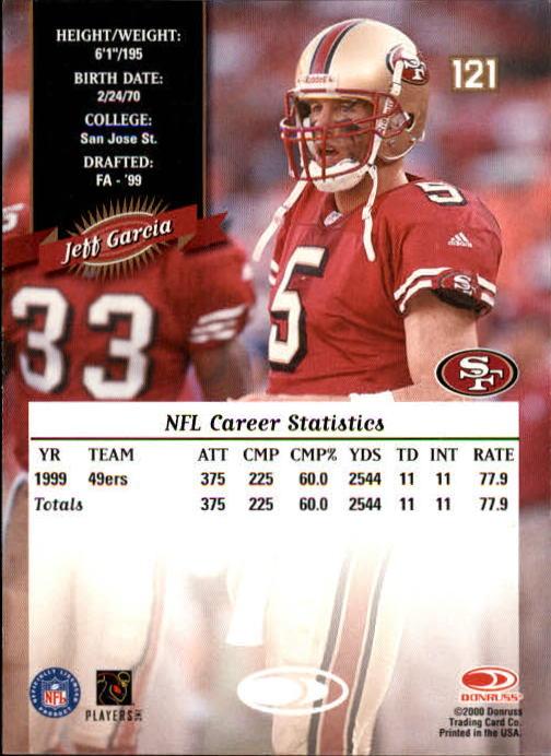 2000 Donruss #121 Jeff Garcia back image