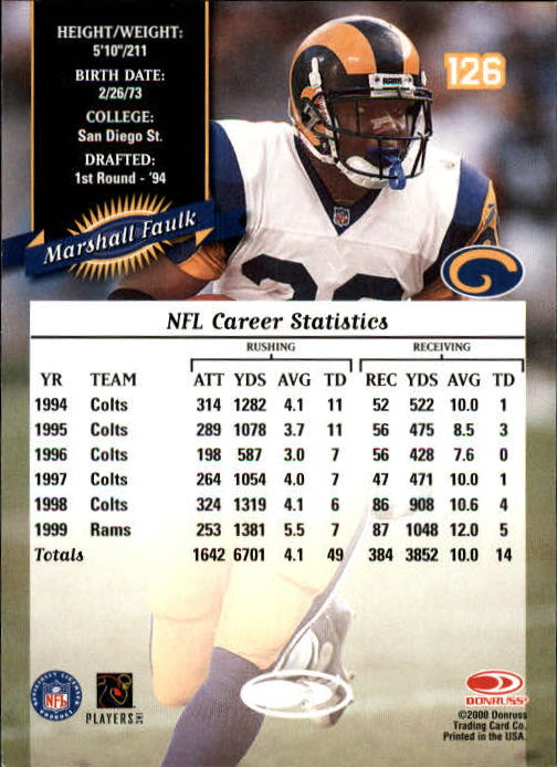 2000 Donruss #126 Marshall Faulk back image