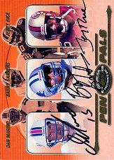 2000 Donruss Preferred Pen Pals #PP88 Dan Marino/Barry Sanders/Jerry Rice