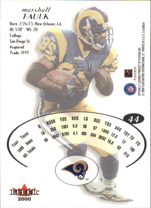 2000 E-X #44 Marshall Faulk back image