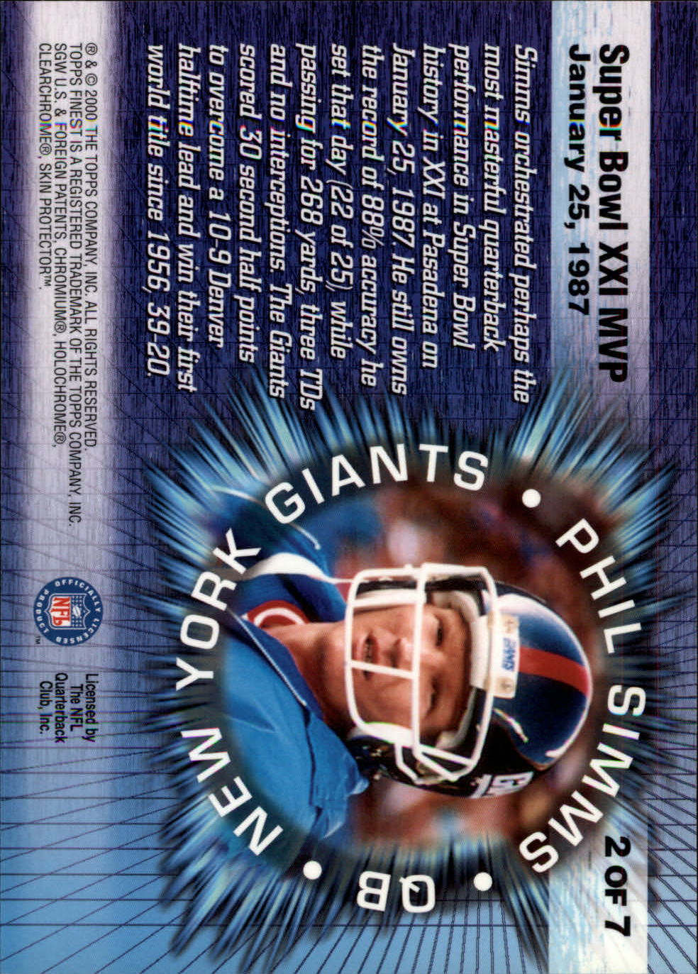 2000 Finest Moments Jumbos #2 Phil Simms back image