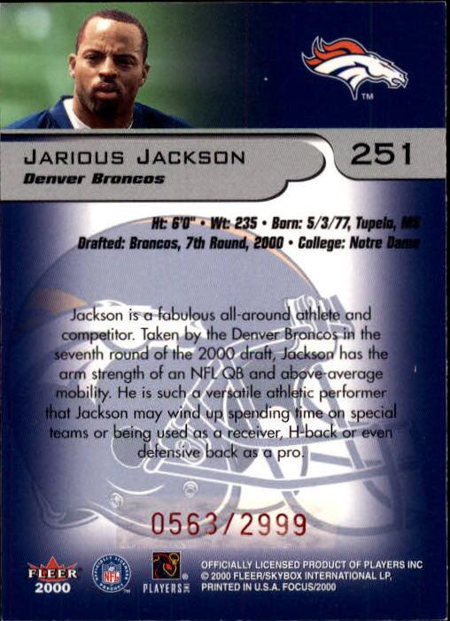 2000 Fleer Focus #251 Jarious Jackson RC back image