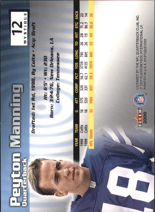 2000 Fleer Mystique #12 Peyton Manning back image