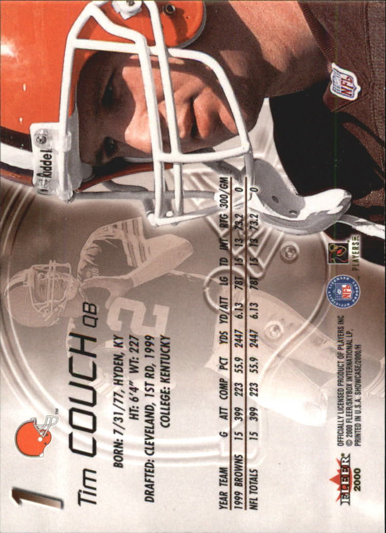 2000 Fleer Showcase #1 Tim Couch back image