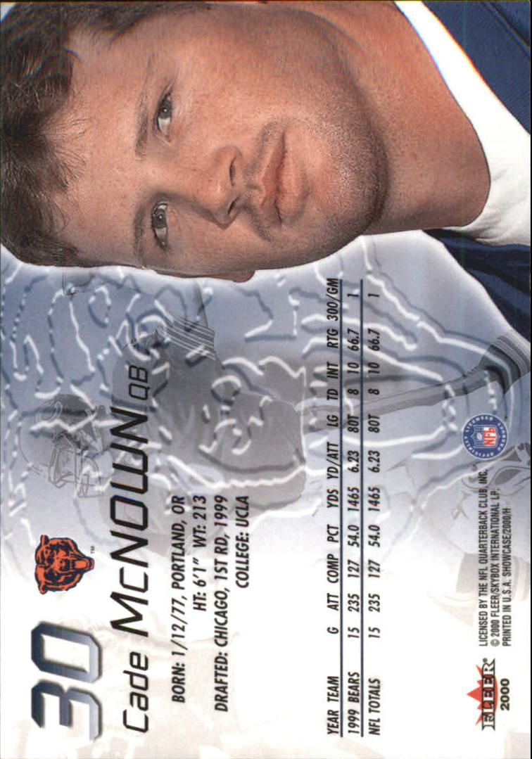 2000 Fleer Showcase #30 Cade McNown back image
