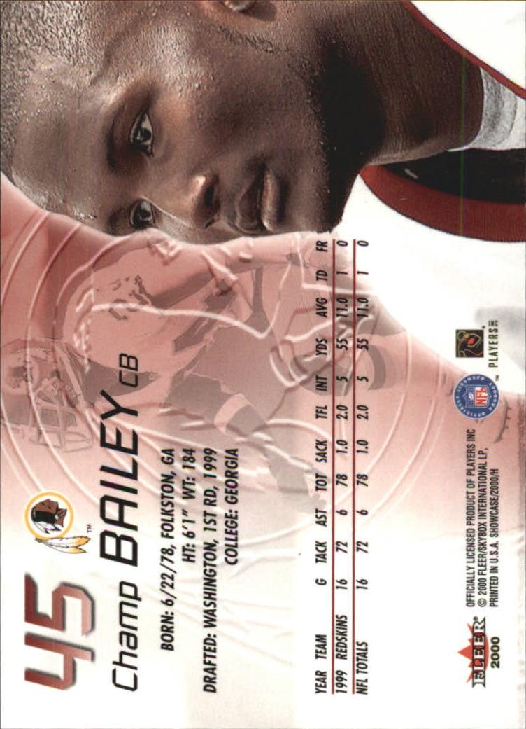 2000 Fleer Showcase #45 Champ Bailey back image