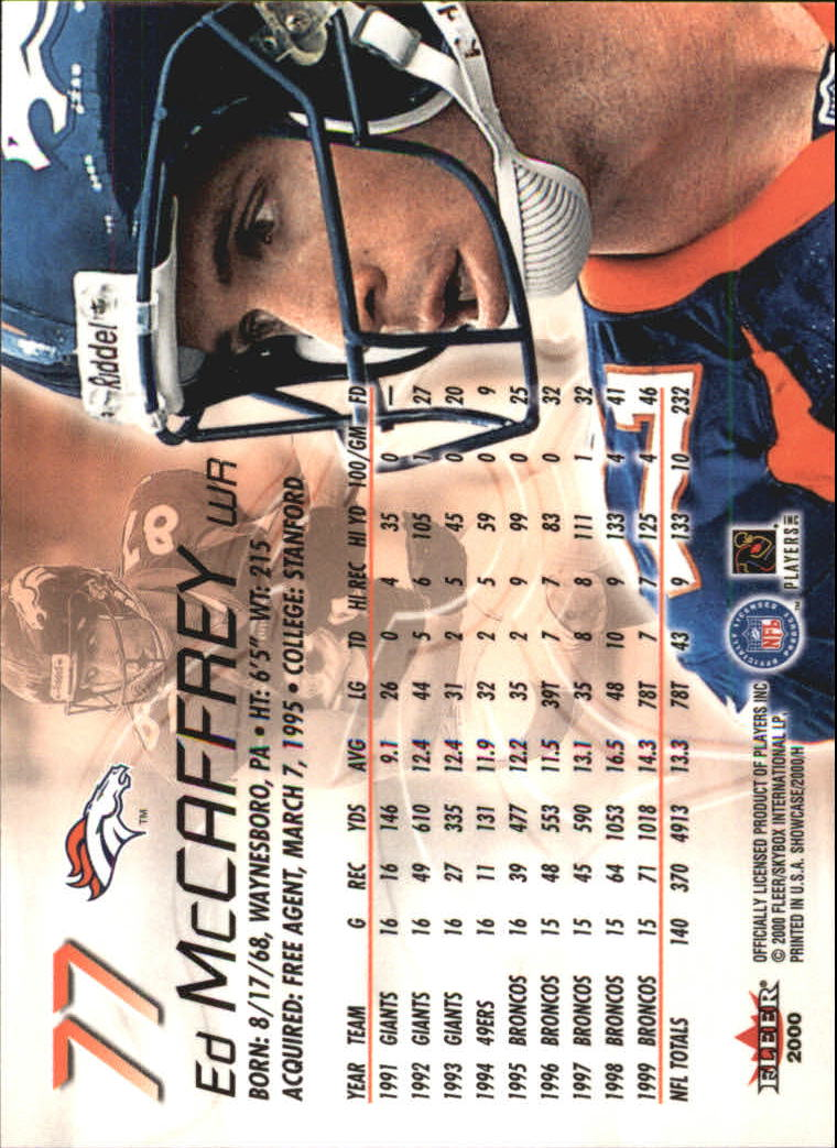2000 Fleer Showcase #77 Ed McCaffrey back image