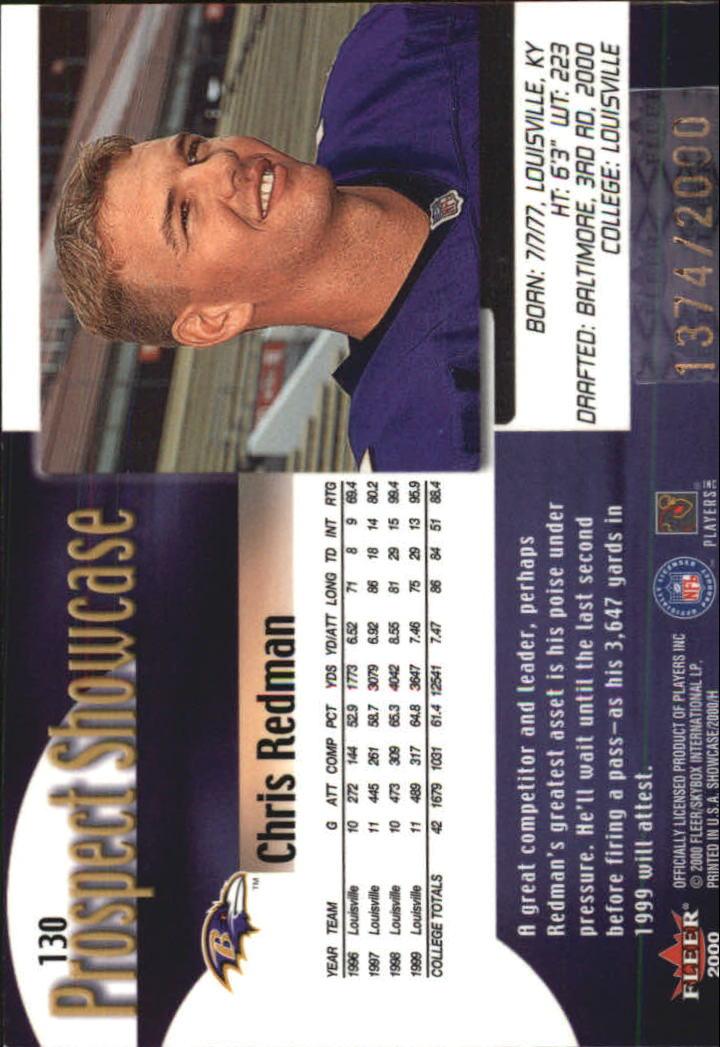 2000 Fleer Showcase #130 Chris Redman RC back image