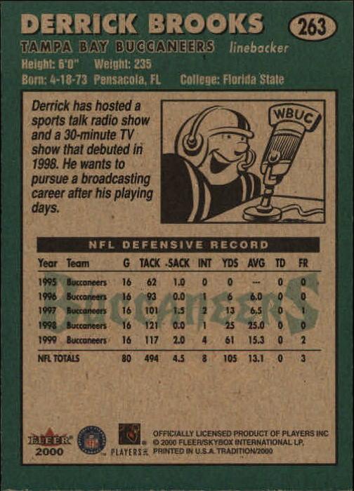 2000 Fleer Tradition #263 Derrick Brooks back image
