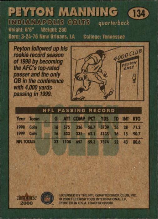 2000 Fleer Tradition Glossy #134 Peyton Manning back image