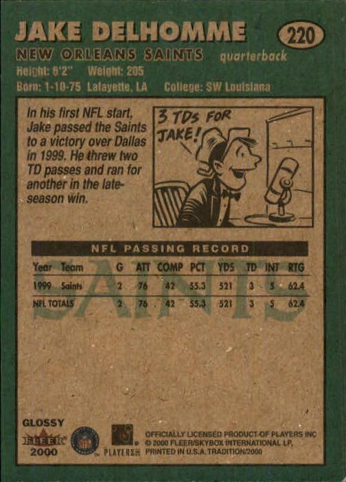 2000 Fleer Tradition Glossy #220 Jake Delhomme back image